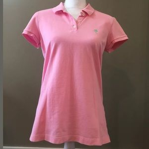 LILLY PULITZER TransDRY Pink Island Polo Top